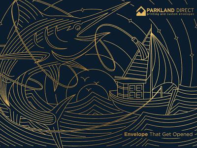 Marlin Envelope Illustration fishing printing company sea branding graphic design print envelope illustration design art minimal geometric logo lineart line monoline