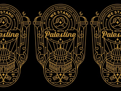 WE STAND WITH PALESTINE T-SHIRT DESIGN dome of the rock hand ornament palestine branding fashion graphic design illustration design art minimal geometric logo line lineart monoline clothing apparel shirt t-shirt