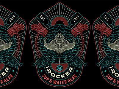 iROCKER T-shirt Design apparel graphic design illustration design minimal geometric logo lineart line monoline sea surf paddleboarding t-shirt clothing outdoor
