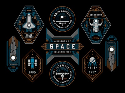 A History of Space Illustration clothing t-shirt graphic design nasa rocket badge apparel poster astronaut ui illustration design art minimal geometric line logo lineart monoline