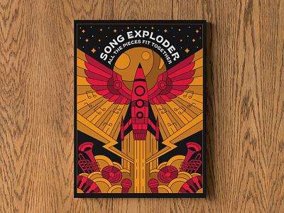 Song Exploder Poster podcast branding design artist band rocket cosmo geometric minimalist print poster illustration art music netflix song songexploder lineart line monoline