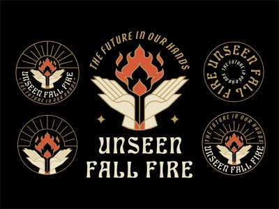 Unseen Fall Fire Event Logo brandingdesign badge illustration monoline minimal cards tarot geometric lineart line typeface fire gold graphic design hand event branding logodesign logo