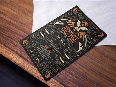 Unseen's Fall Fire Poster community artdeco fire hand posterdesign gold print graphic design artprint event poster branding design illustration minimal geometric logo lineart line monoline