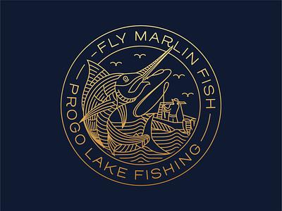 Fly Marlin Badge fisherman outdoor simple gold print branding clothing t-shirt sticker apparel fishing badge design illustration minimal geometric logo lineart line monoline
