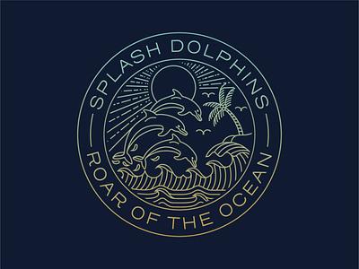 Splash Dolphins Badge fish ocean summer outdoor t-shirt clothing apparel sticker sea dolphin badge branding design illustration minimal geometric logo lineart line monoline