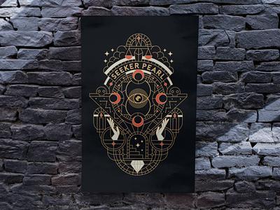 SEEKER PEARL merch t-shirt poster pearl seeker music branding band design illustration minimal geometric logo lineart line monoline