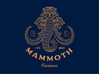Mammoth Headwear line art minimalist mammoth merchandise logo design icon vector illustration clothing t-shirt apparel