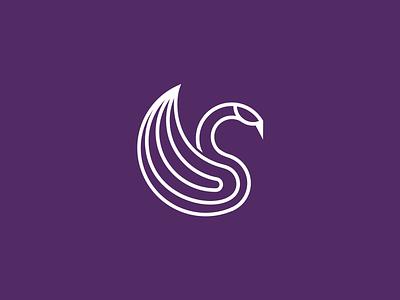 Swan symbol monoline minimal mark logo feminime swan identity geometric