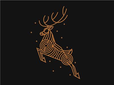 Jumping Deer symbo monoline minimal mark logo identity geometric