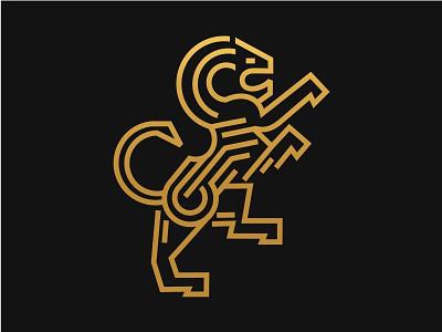 Lion stand symbol monoline minimal mark logo identity geometric