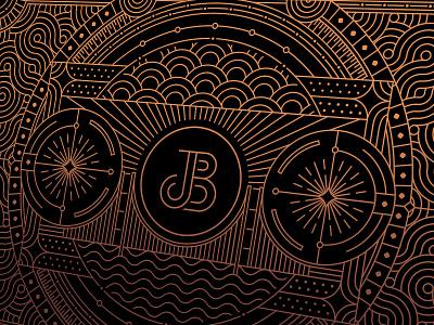 Juicebox bridge vapor branding agency branding design retro vintage cooper gold packaging playingcard artdeco illustration geometric lineart identity minimal mark line logo monoline