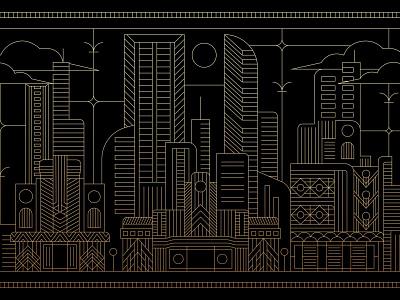 Cityscape artdeco cityscape gold illustration vector bird logo identity symbol iconic simple geometric monoline line lineart art