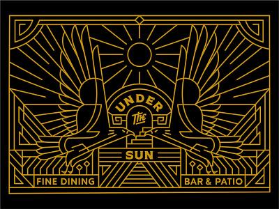 Under the Sun art sun poster geometry cafe finedining coffeeshop resto bar mural vintage artwork packaging symmetry playingcards eagle artdeco minimal mark monoline