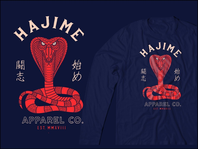 HAJIME SNAKE design popular martial art apparel graphics apparel design t-shirt apparel snake geometric monoline illustration art lineart line
