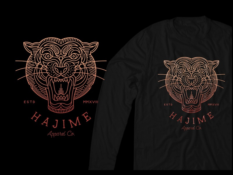 Hajime Tiger animals abstract art t-shirt design t-shirt line art apparel graphics apparel design apparel clothing animal gold symbol monoline design illustration geometric art lineart logo line