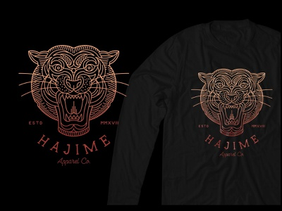 Hajime Tiger animals abstract art t-shirt design t-shirt line art apparel graphics apparel design apparel clothing animal gold symbol monoline design illustration geometric art lineart logo line