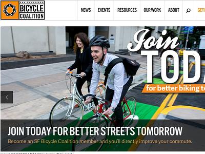 SF Bicycle Coalition Website branding design bicycle web design website