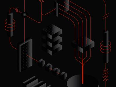 Isometric Schema sleek minimal darth electrical electric futuristic circuit board circuit connection lasers neon isometric schematic illustration