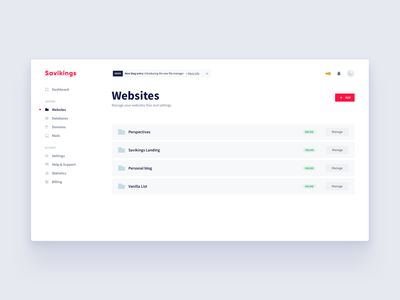 Savikings Panel - Manage Websites web website savikings hosting panel