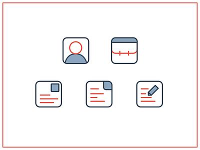 5 line icons red blue line minimalism icon