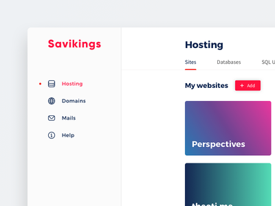 Hosting panel complexion reduction red bold minimal hosting panel