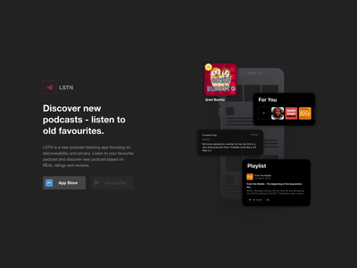 Podcast Concept landing page app design html css podcasting app ios podcast