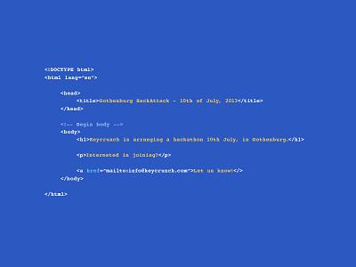Hackathon hackathon gothenburg sweden html jquery css code hack javascript landing page