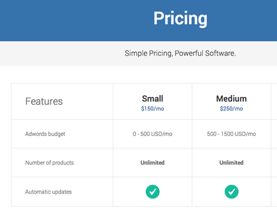 Pricing flat html css bootstrap landing page pricing table