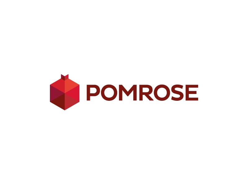 Pomrose brand logotype logo triangles hexagon fruit pomegranate