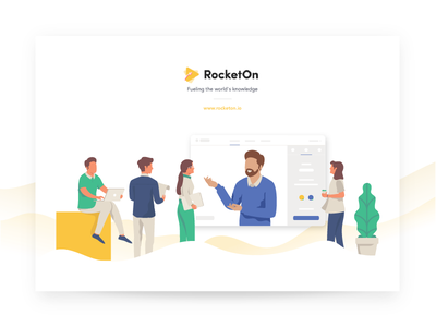RocketOn - Pitch Deck Cover Illustration course coaching design app character illustration