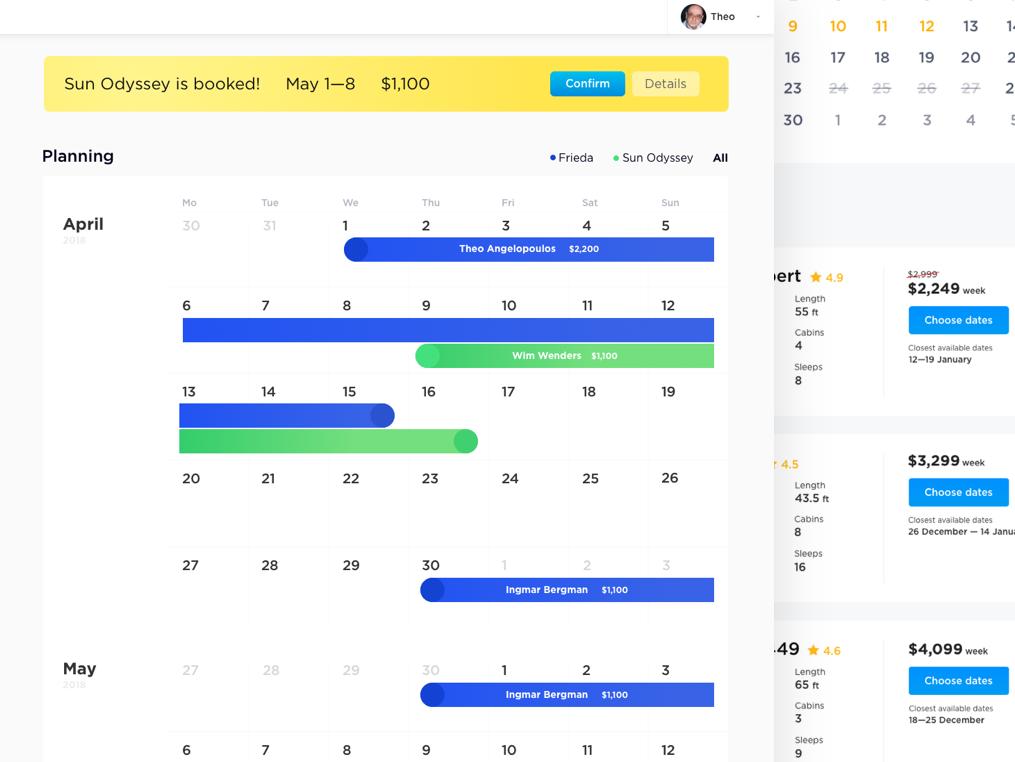Yacht renting service user account yacht travel timeline web design ux designer ui dashboard ui calendar dashboard admin panel user interface ui user interface minimal clean 2d design 2d typography