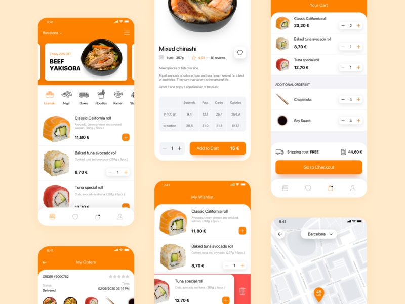 Akemi - Japanese Restaurant japanese food food mobile checkout restaurant delivery food mobile apps mobile ui mobile app design delivery app find on map maps online store cart checkout page checkout mobile app online shopping ecommerce shop ecommerce