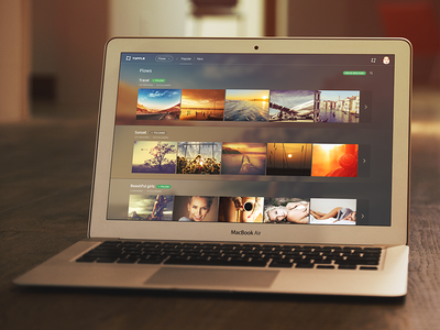 Tuffle. Flows  tuffle navigation desktop web ui clean flat social flows site menu simple