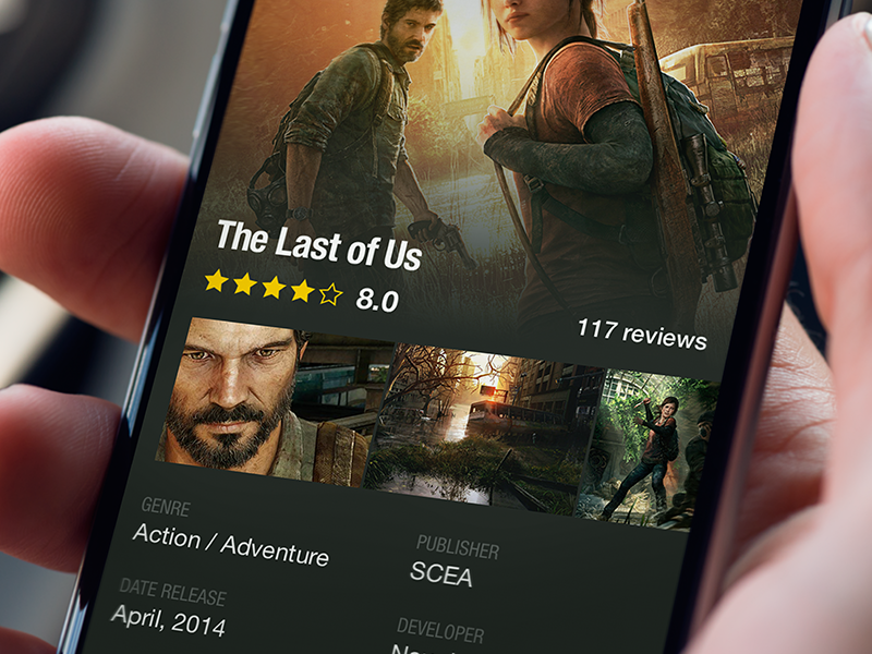 Game Description app rating ui ux ios iphone6 game playstation flat design star dark