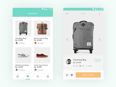 E-commerce App turquoise green wishlist buy thumbnail grid e-commerce product android