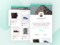 Profile Screen for E-commerce App grid view mobile profile product e-commerce android turquoise green ux ui