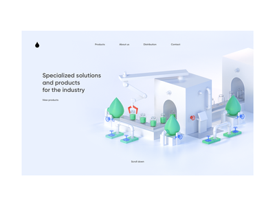 Industrial chemistry production   Home page 3d minimal illustration website web ux ui design