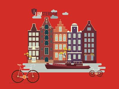 I amsterdam boat houses illustration city amsterdam