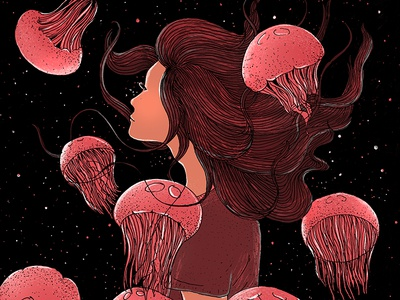 Dreams space jellyfish illustration dreams