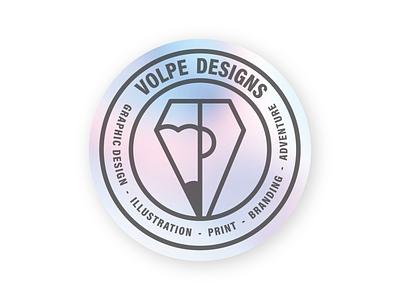 Volpe Designs Holographic graphicdesigner hologram 90s stickermule sticker designs volpe logotype branding logo