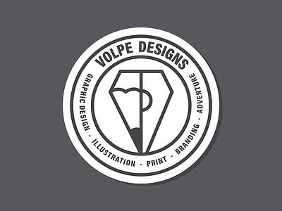 Volpe Designs Logo pencil pen badge illustration design branding personal logo