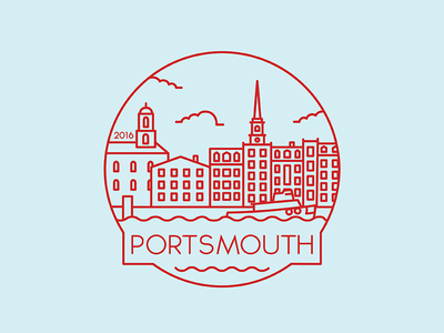 Portsmouth - Travel Badge portsmouth travel travel badge city badge city tugboat missouri design illustration icon