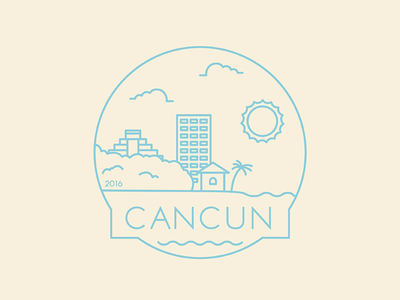 Cancun - Travel Badge vacation travel travel badge city badge city cancun mexico design illustration icon