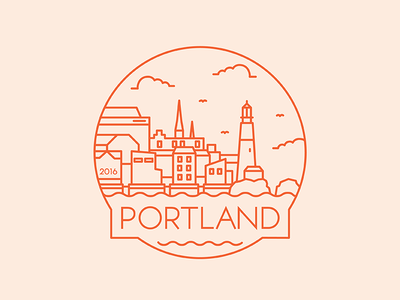 Portland - Travel Badge design portland maine lighthouse illustration icon badge travel city