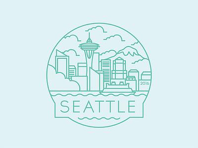 Seattle  - Travel Badge ferry space needle washington design city travel badge icon illustration seattle