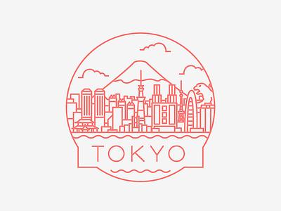 Tokyo - Travel Badge illustration mt fuji godzilla design icon badge travel japan tokyo
