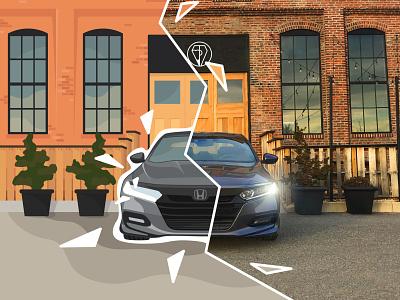 Honda Accord flat angles half vector brick 10thgen mix design 5050 car photography accord honda illustration