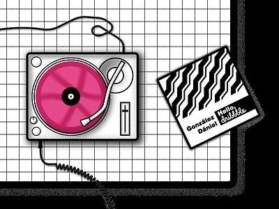 Hello dribbble - my first album debut first shot disc vinyl turntable music design illustration