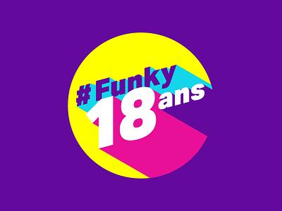 #Funky18ans ✩∗✺ yellow purple logo funky