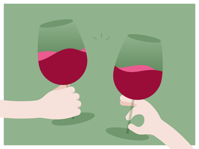 Cheers! cheers red wine glass of wine